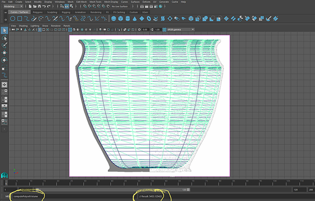 Using artefact illustration to calculate vessel volumes