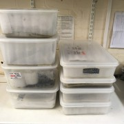 Stack of Must Farm artefacts ready to be examined.