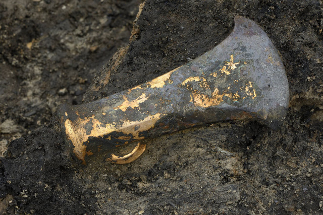 In-situ photograph of one of our socketed bronze axes.