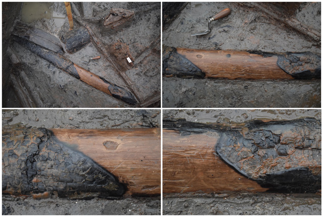 Examining distinct charring patterns on structural timbers is an essential form of analysis to try and understand the architecture of the stilted buildings from the settlement.