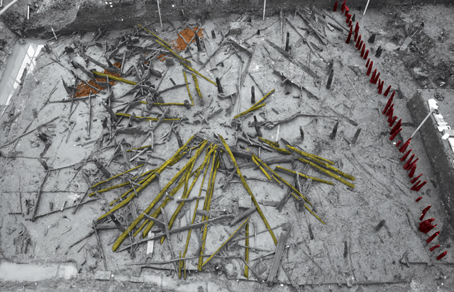 Image highlighting the Bronze Age roof in situ