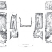 Scale drawing of the wooden box. Interpretation highlights the important elements of the object.