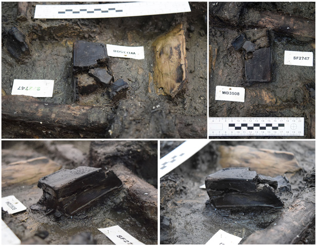 Image showing the wooden box from multiple angles. To our knowledge this is the only example known from a British Bronze Age site.