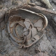 Image of three ceramic storage vessels, stacked inside one another. Now that we are in the deposits containing more material from the settlement we can begin to examine it more closely and start to gather more detail about the lives of the people who lived here.