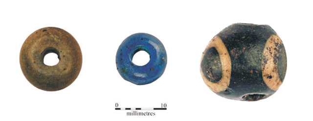 Photograph of some beads recovered from the 2006 evaluation. They are definitely decorative but what how prominent were they in daily life?